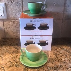 NIB Le Creuset cappuccino cups and saucers, palm!